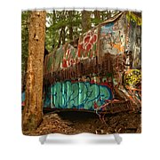 Canadian Pacific Box Car Wreckage Shower Curtain