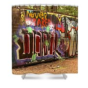Canadian Pacific Train Wreck Graffiti Shower Curtain
