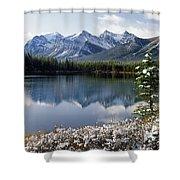 1m3541-canadian Peak Reflected In Herbert Lake Shower Curtain