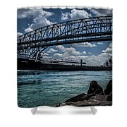 Canadian Tranfer Under Blue Water Bridges Shower Curtain