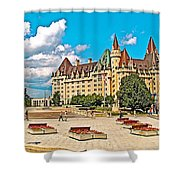 Canadian War Memorial And Chateau Laurier In Ottawa-ontario  Shower Curtain