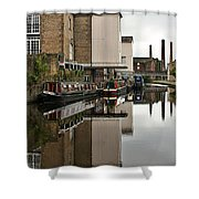Canal And Chimneys Shower Curtain by Jeremy Hayden