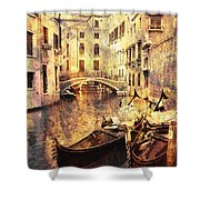 Canal And Docked Gondolas In Venice Shower Curtain
