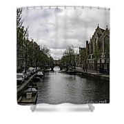 Canal Behind Oude Kerk In Amsterdam Shower Curtain