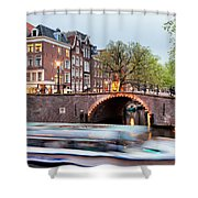 Canal Bridge And Boat Tour In Amsterdam At Evening Shower Curtain