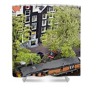 Canal Houses And Houseboat In Amsterdam Shower Curtain
