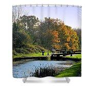 Canal Locks In Autumn Shower Curtain