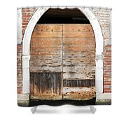Canalside Weathered Door Venice Italy Shower Curtain