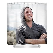 Candid Portrait Of Laughing Young Shower Curtain