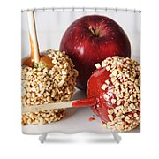 Candied Caramel And Regular Red Apple Shower Curtain