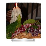 Candle And Grapes Shower Curtain by Marcia Socolik