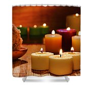 Candles Burning In A Spa  Shower Curtain