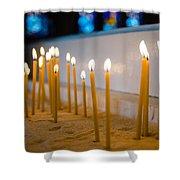 candles in the Catholic Church shallow depth of field Shower Curtain