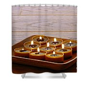 Candles In Wood Tray Shower Curtain