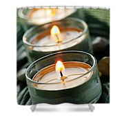 Candles On Green Shower Curtain