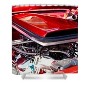 Candy Apple Red Horsepower - Ford Racing Engine Shower Curtain