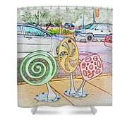 Candy Bike Rack In Colored Pencil Shower Curtain