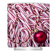 Candy Cane And Red Ornament Shower Curtain