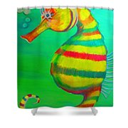 Candy Cane Seahorse Shower Curtain