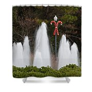 Candy Cane Water Fountain Shower Curtain