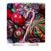 Candy Canes And Colorful Ornaments Shower Curtain