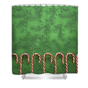 Candy Canes Shower Curtain by Colette Scharf