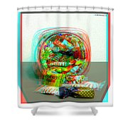 Candy Jar - Use Red-cyan Filtered 3d Glasses Shower Curtain