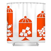 Canisters In Orange Shower Curtain