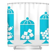 Canisters In Turquoise Shower Curtain