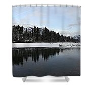 Winter Mountain Calm - Canmore, Alberta Shower Curtain