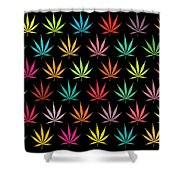 Cannabis Leaf Multi-coloured Pattern Shower Curtain