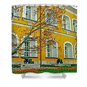 Cannon And Tulips Inside Kremlin In Moscow-russia Shower Curtain