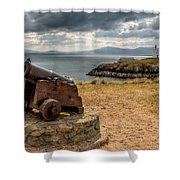 Cannon At Llanddwyn  Shower Curtain by Adrian Evans