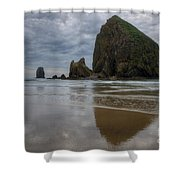 Cannon Beach Haystack Reflection Shower Curtain