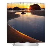 Cannon Beach Sunset Vertical Shower Curtain