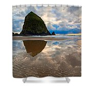 Cannon Beach With Storm Clouds In Oregon Coast Shower Curtain