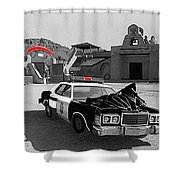 Cannonball Run 2  Brothel Set   Mexican Plaza Old Tucson Arizona 1984 Shower Curtain