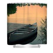 Canoe At A Dock At Sunset Shower Curtain by Jill Battaglia