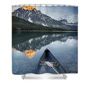 Canoe At Lower Waterfowl Lake With Shower Curtain