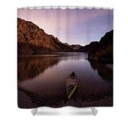 Canoe In Lake Near Shore, Arizona Shower Curtain