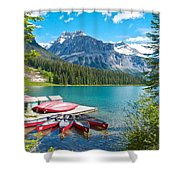 Canoe Livery On Emerald Lake In Yoho Np-bc Shower Curtain
