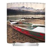 Canoe On Misty Fall Morning, Maligne Shower Curtain