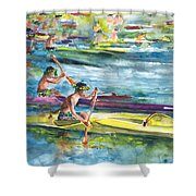 Canoe Race In Polynesia Shower Curtain