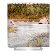 Canoe Tent Camp At Yukon River In Taiga Wilderness Shower Curtain