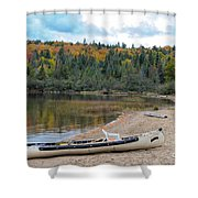 Canoe With An Engine Shower Curtain