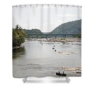 Canoeing On The Potomac River At Harpers Ferry Shower Curtain