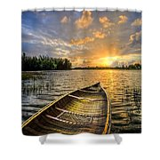 Canoeing At Sunrise Shower Curtain