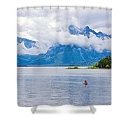 Canoeing In Colter Bay In Grand Teton National Park-wyoming Shower Curtain