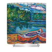 Canoes At Mountain Lake Sketch Shower Curtain