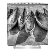 Canoes In Black And White Shower Curtain